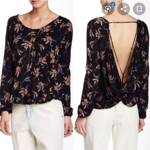 Free People Elsa jersey floral open back top S